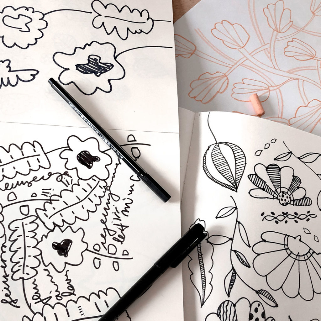 Surface Pattern Design process. Idea, sketch, digital magic and attention to details.